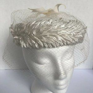 Cream Ivory Floral Open Top Veiled Vtg Womens Hat